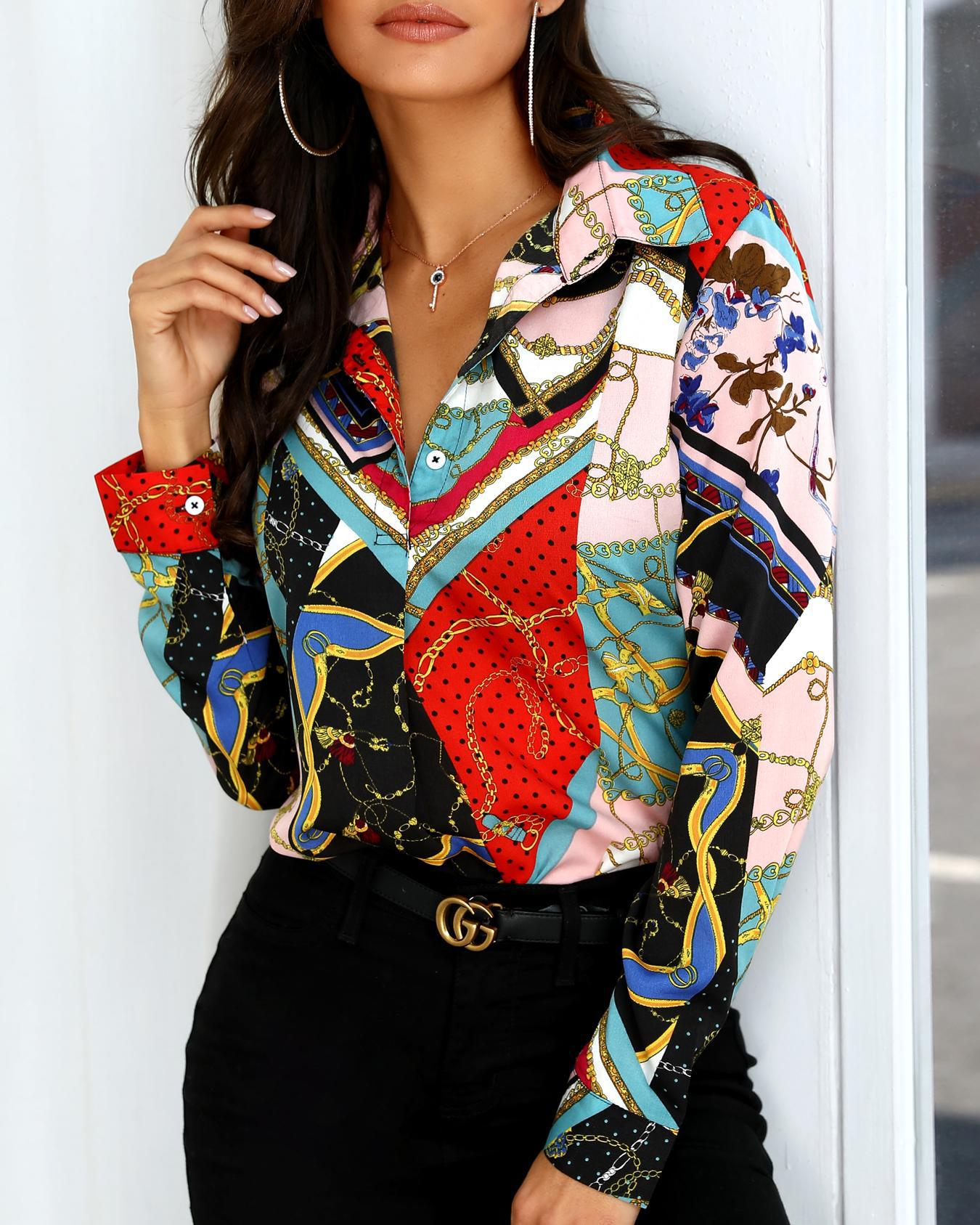 Mixed Chain Print Casual Blouse, Multicolor