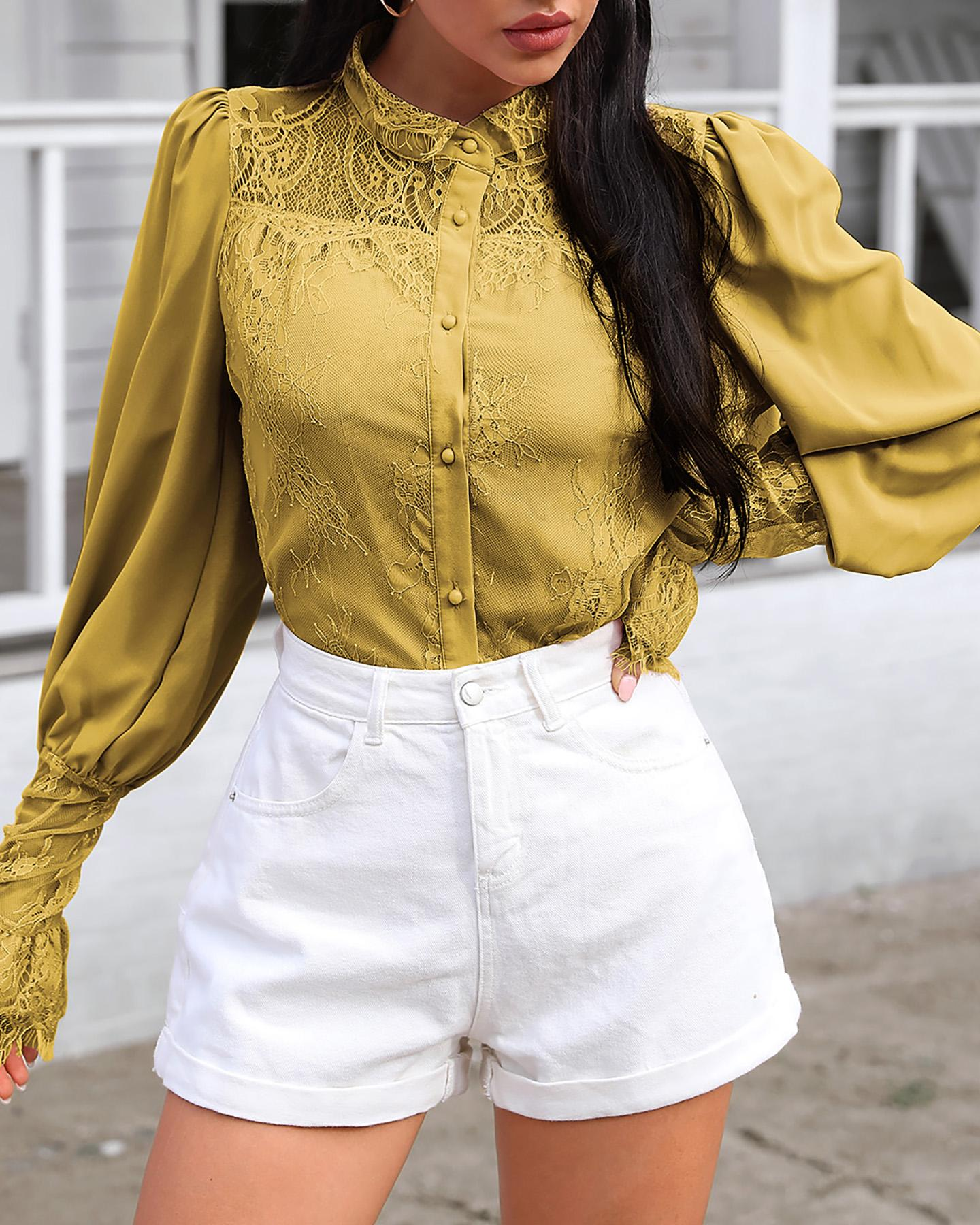 Lace Patchwork Puff Sleeve Buttoned Blouse фото