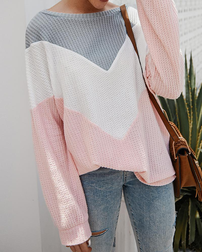 Colorblock Long Sleeve Casual Sweater, Pink