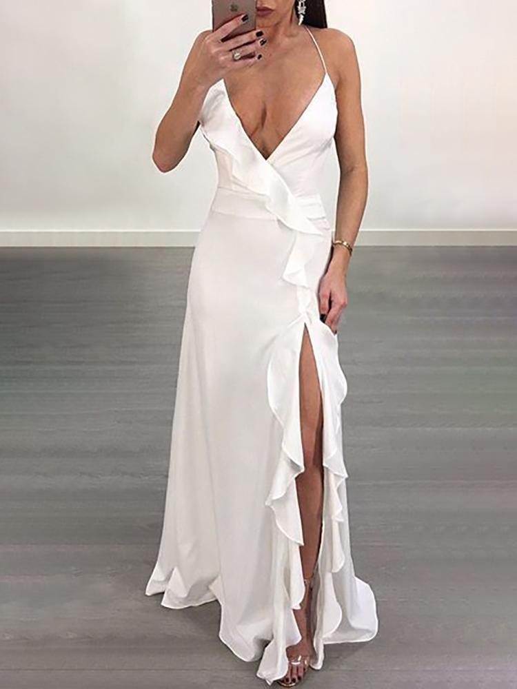 High Slit Ruffled Lace-up Open Back Maxi Dress