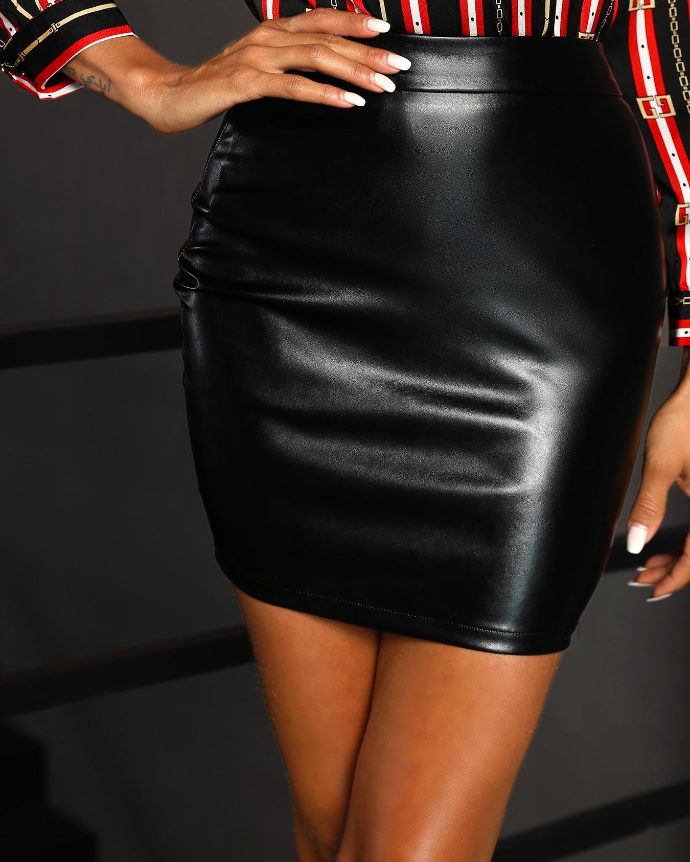 High Waist Mini PU Skirt фото