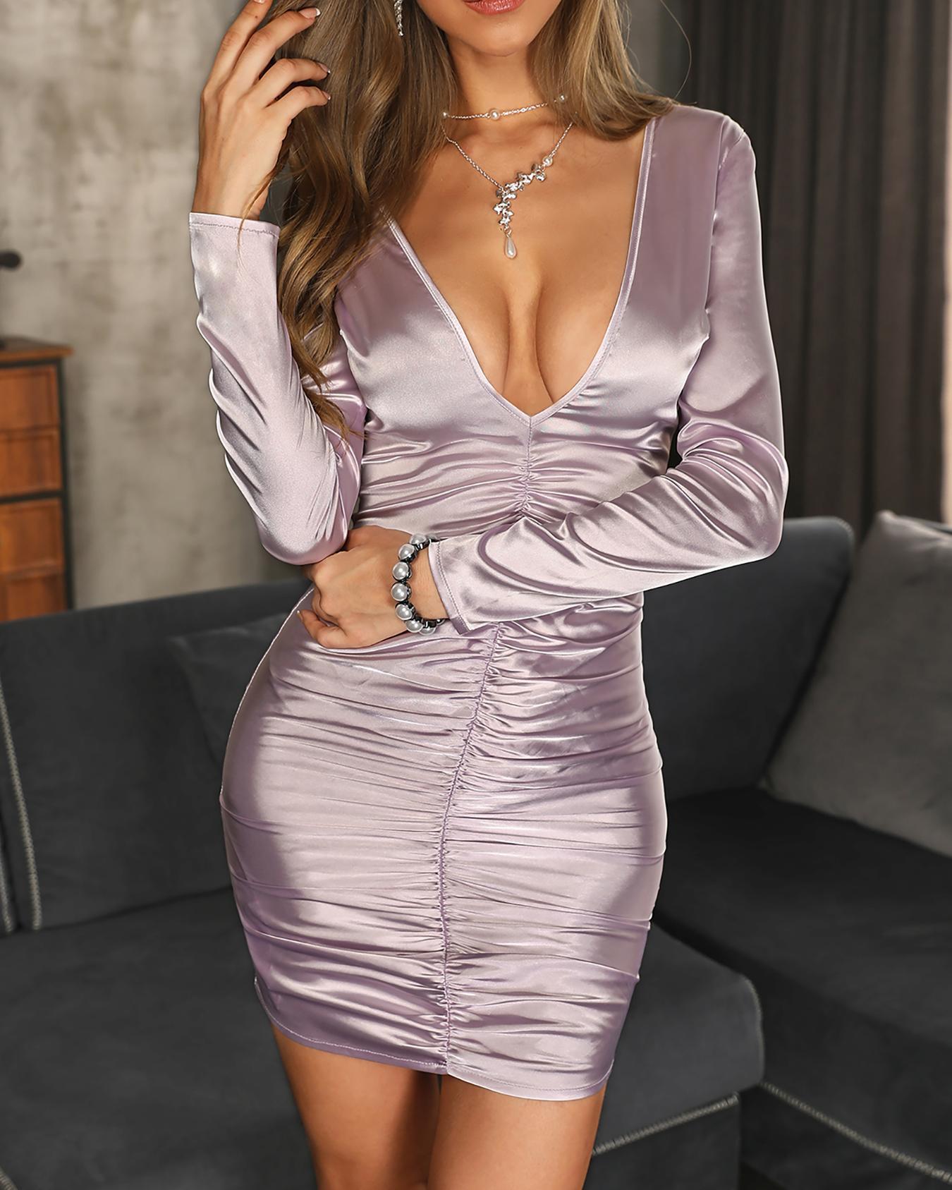 Deep V-Neck Ruched Design Dress
