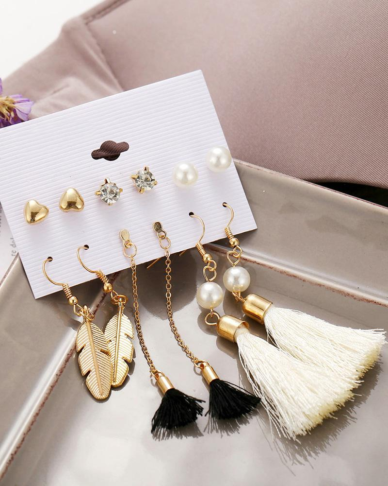 6 Pairs Beaded Hoop Tassel Ear Cuff Earring Set фото