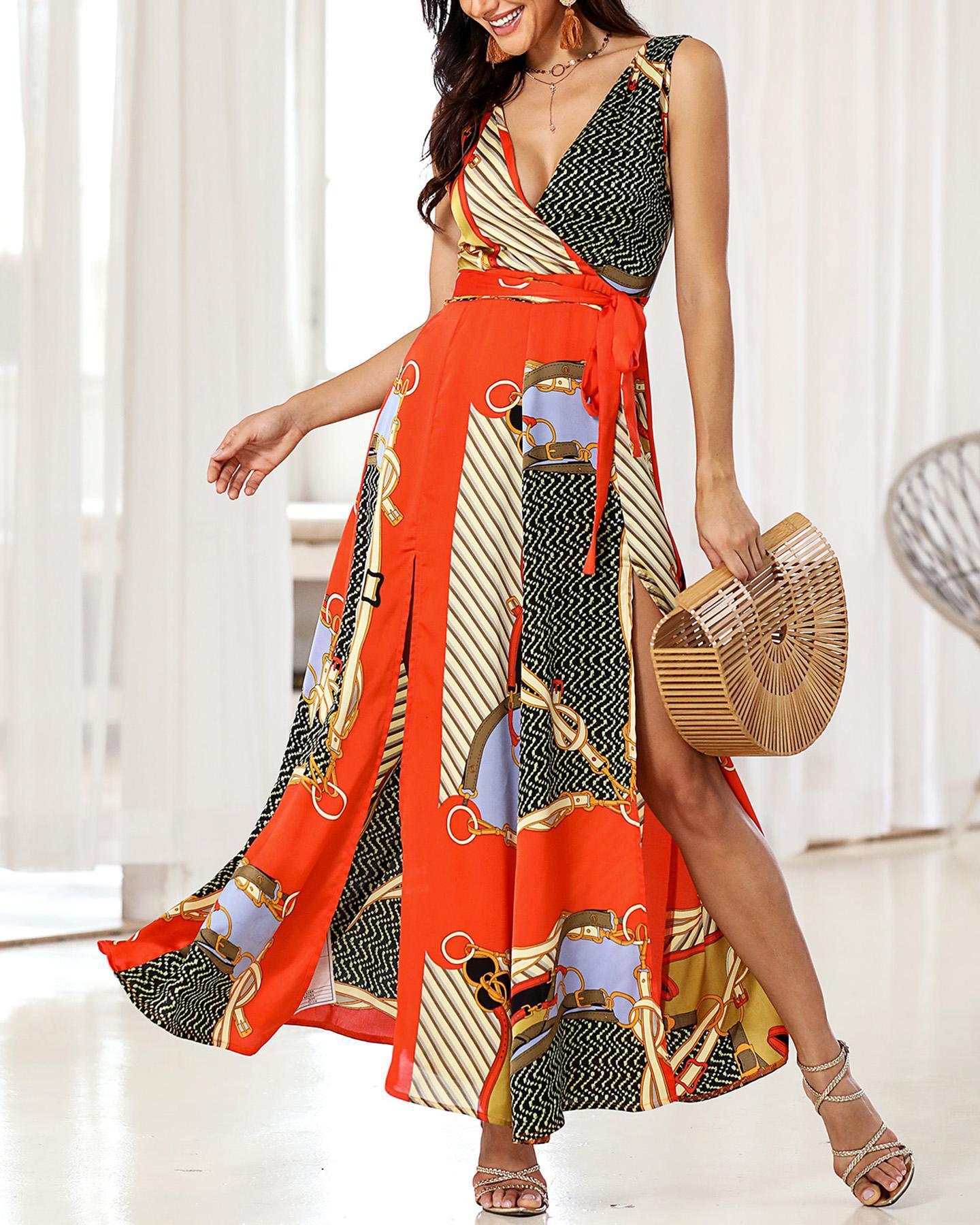 Scarf Mixed Print Slit Maxi Dress