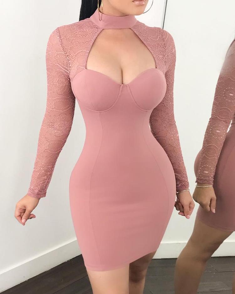 See Through Crochet Sleeve Cut Out Bodycon Dress