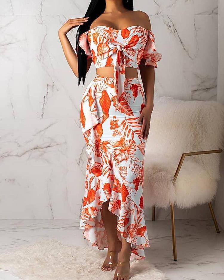 Print Off Shoulder Knotted Top & Ruffles Skirt Set