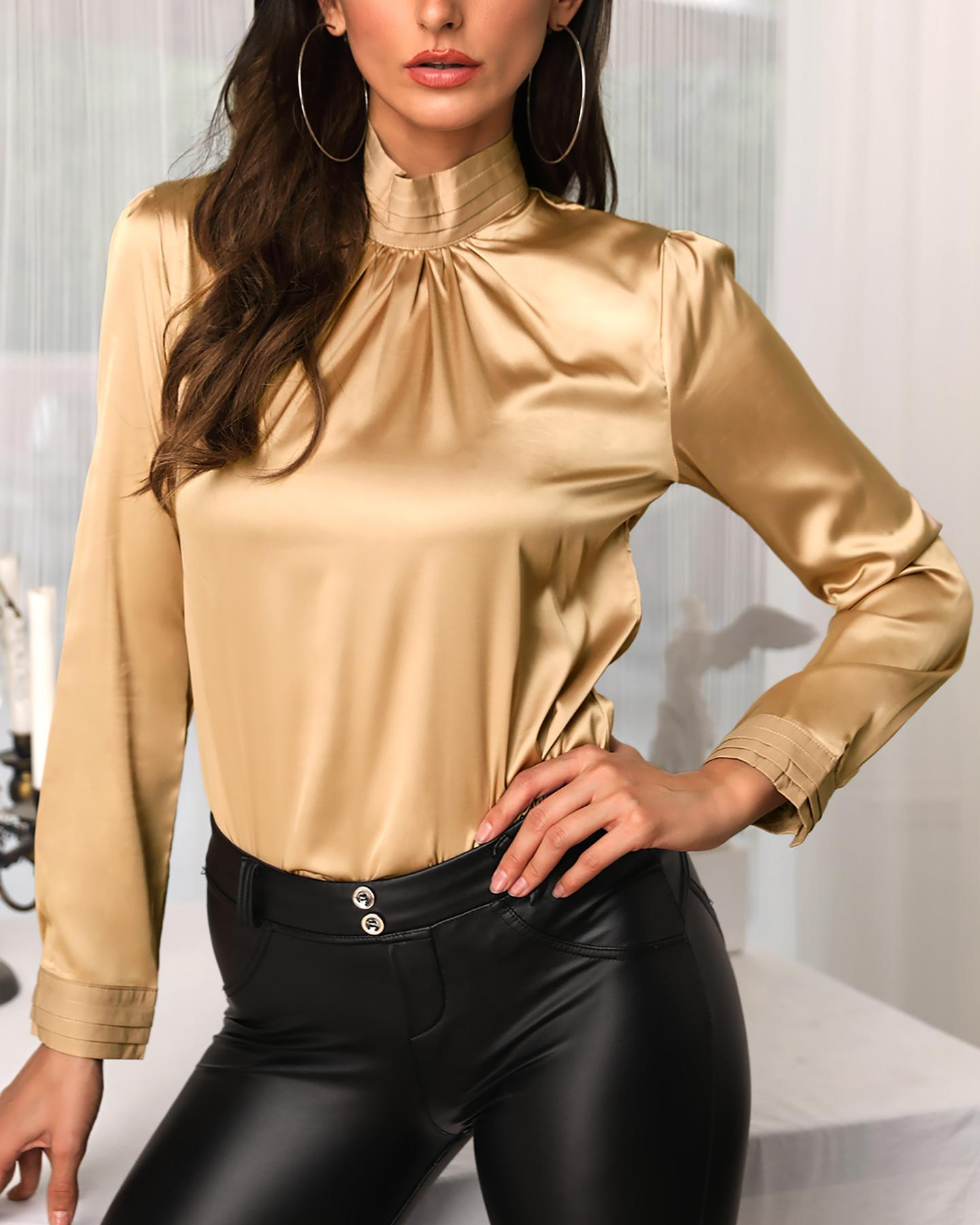 Satin Design Ruched High Neck Blouse фото