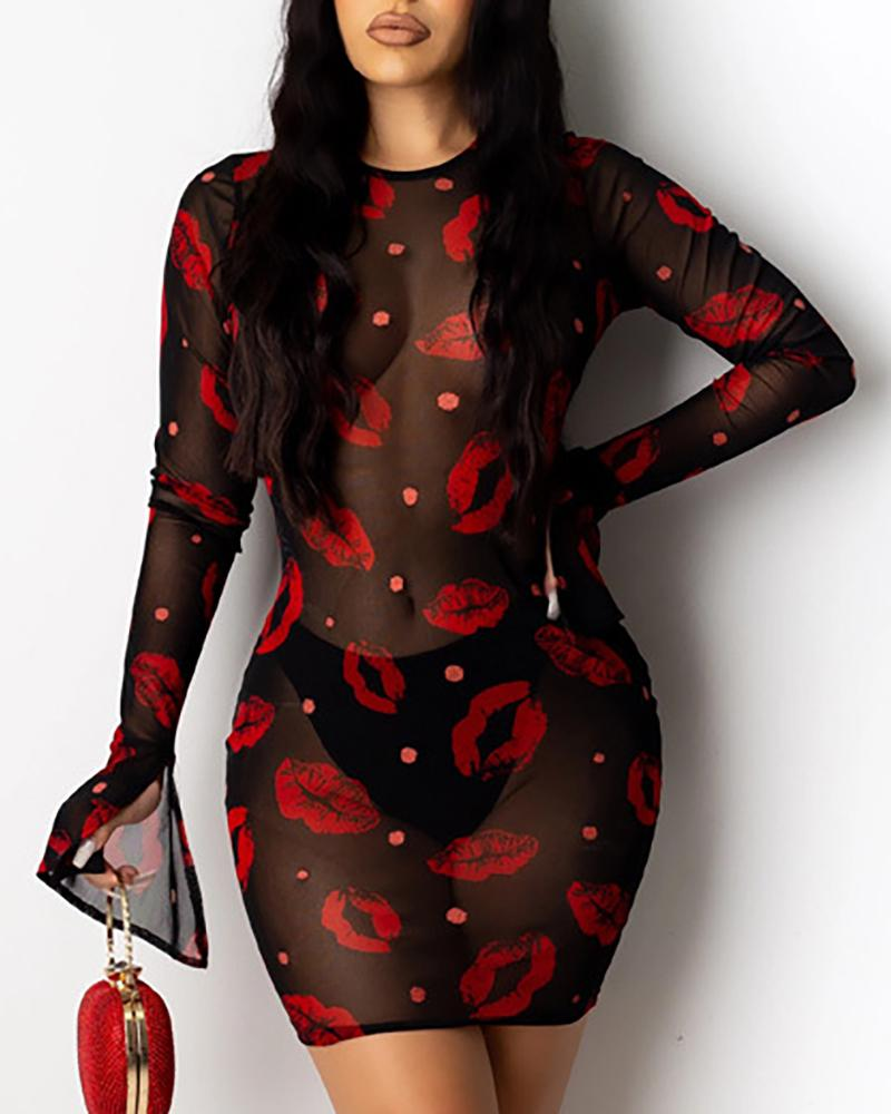See Through Lips Print Bodycon Dress фото