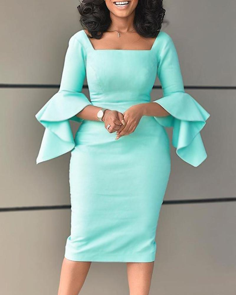 ivrose / Square Neck Bell Sleeve Midi Dress