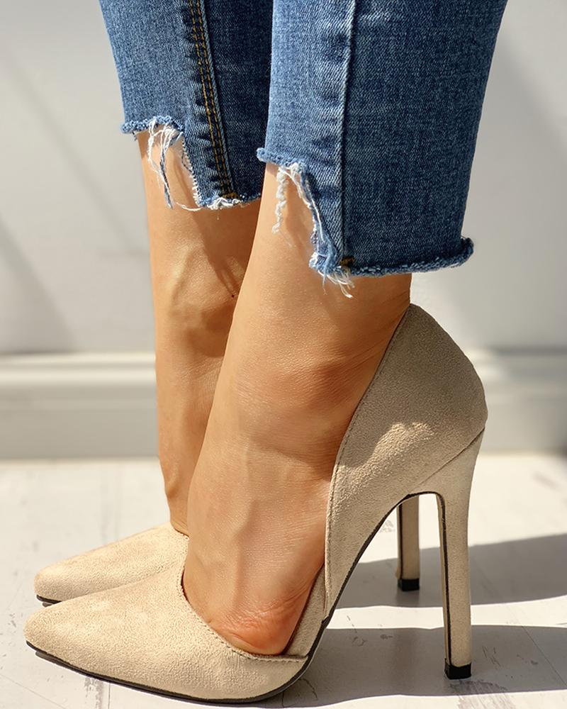 Suede Pointed Toe Thin Heels фото