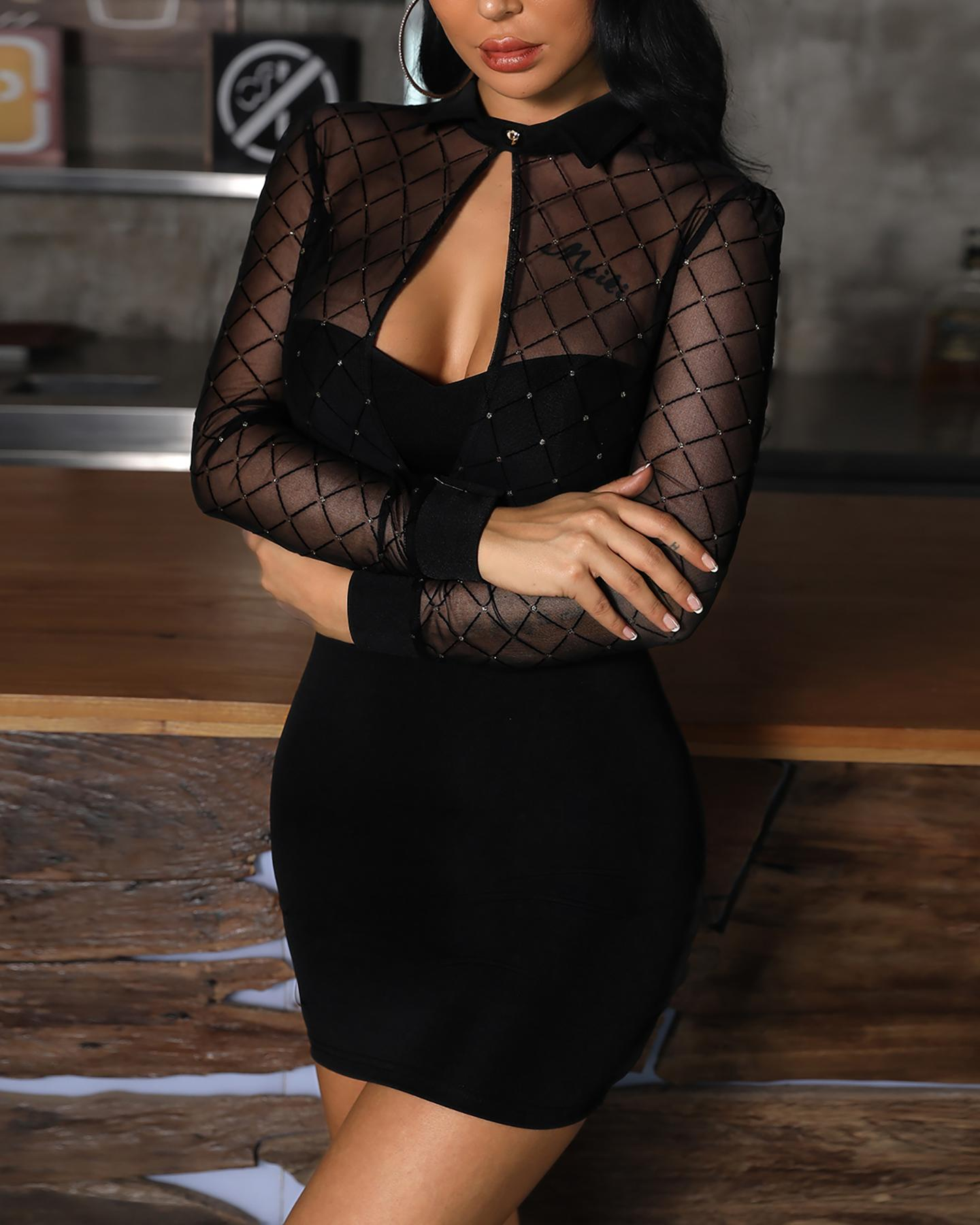 Grid Mesh Insert Cutout Bodycon Dress, Black&gold