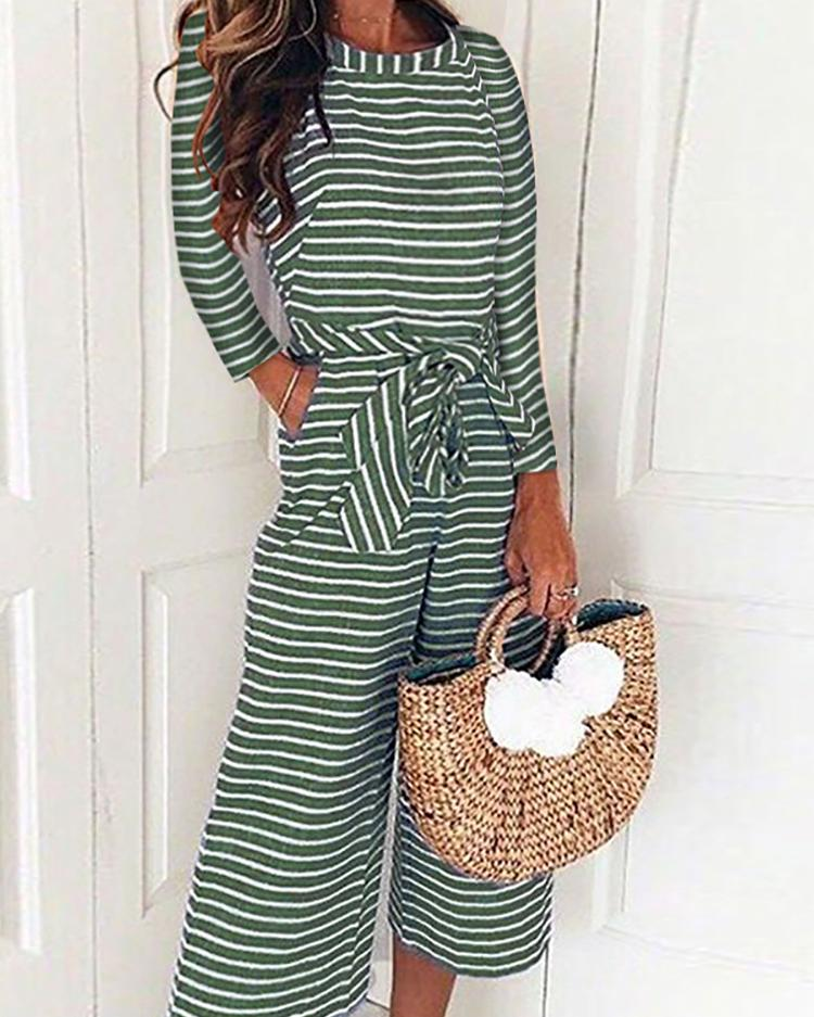 Striped Long Sleeve Tied Waist Pocket Jumpsuits фото
