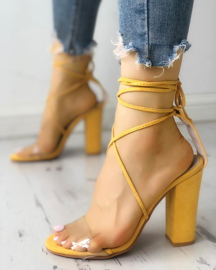 Transparent Lace-Up Chunky Heeled Sandals, Yellow