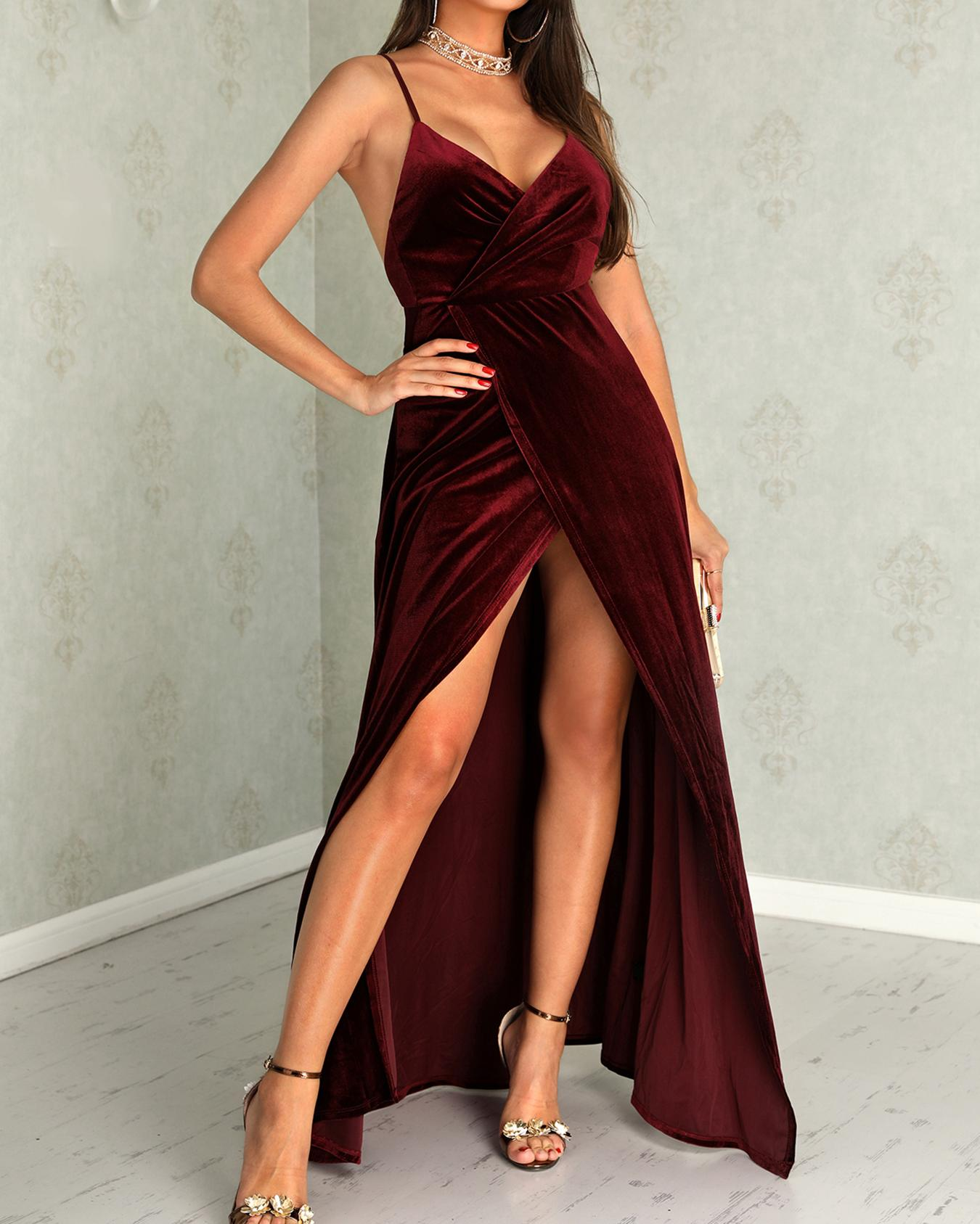 Velvet Wrap Ruched Crisscross Open Back Dress фото