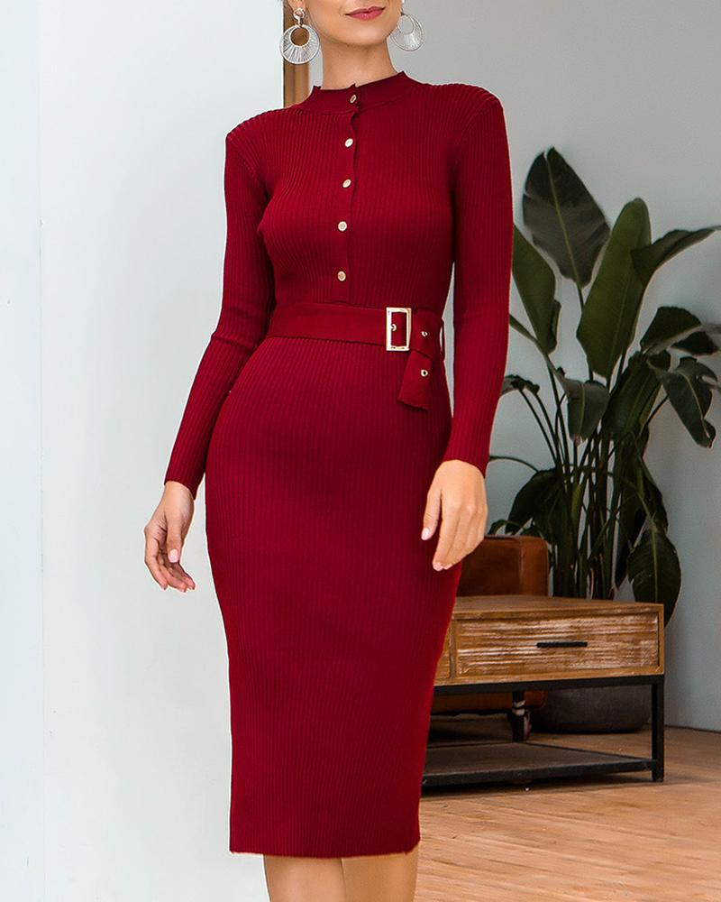 boutiquefeel / Vestido abotoado com nervuras de manga comprida