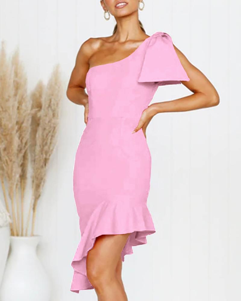 One Shoulder Ruffles Trim Irregular Dress фото