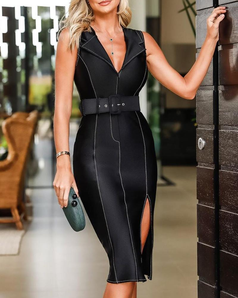 chicme / Vestido ajustado sin mangas con aberturas y ribete en contraste