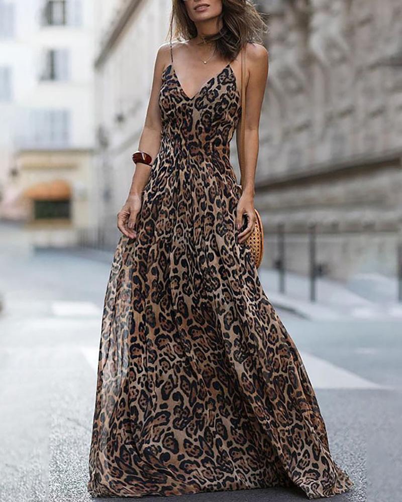 Spaghetti Strap Leopard Print Maxi Dress фото
