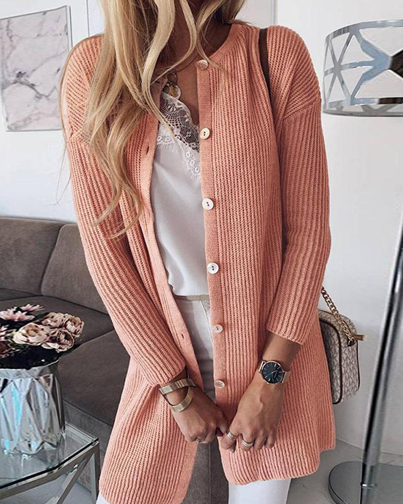 Ribbed Button Long Sleeve Cardigan фото