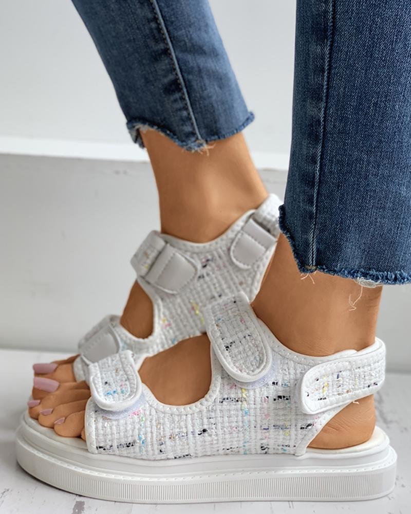 chicme / Houndstooth Velcro Slingback Platform Sandals