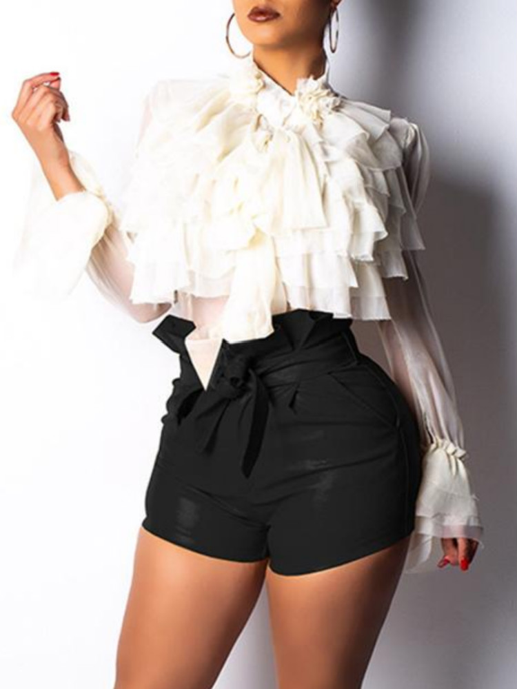 Paperbag Waist Belted PU Shorts фото