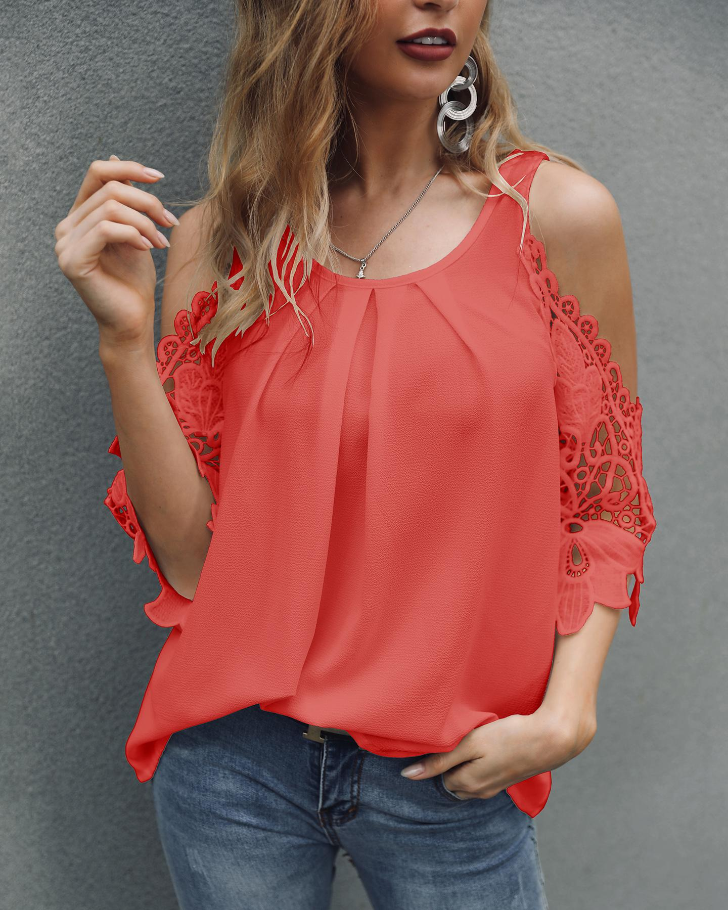 Lace Crochet Cold Shoulder Pleated Blouse фото