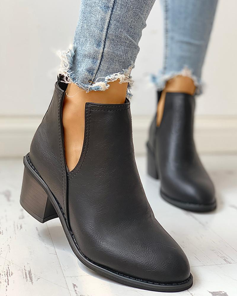 Solid PU Cut Out Design Chunky Heeled Boots