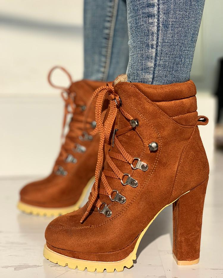 joyshoetique / Platform Lace-Up Chunky Heeled Boots