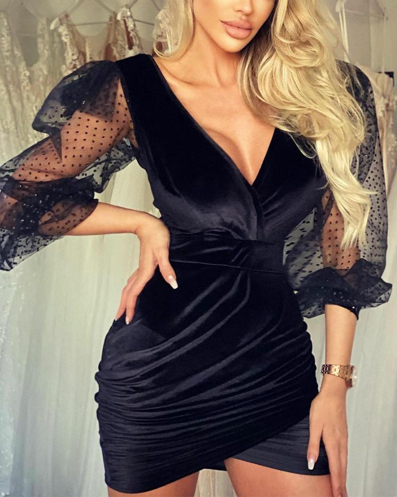 joyshoetique / Stitching Lace Solid Color Long Sleeve Mini Dress
