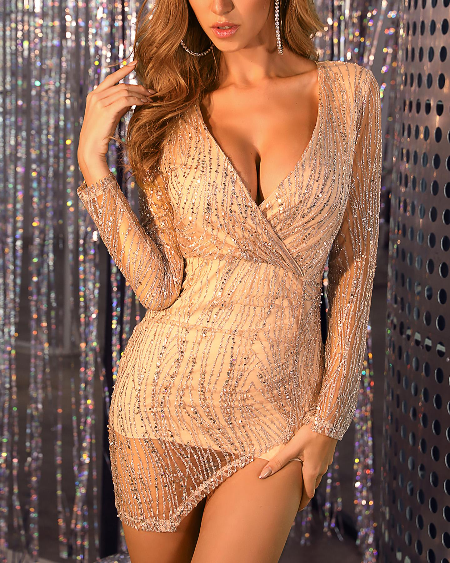 Plunge Slit Sequins Sparkly Party Dress фото