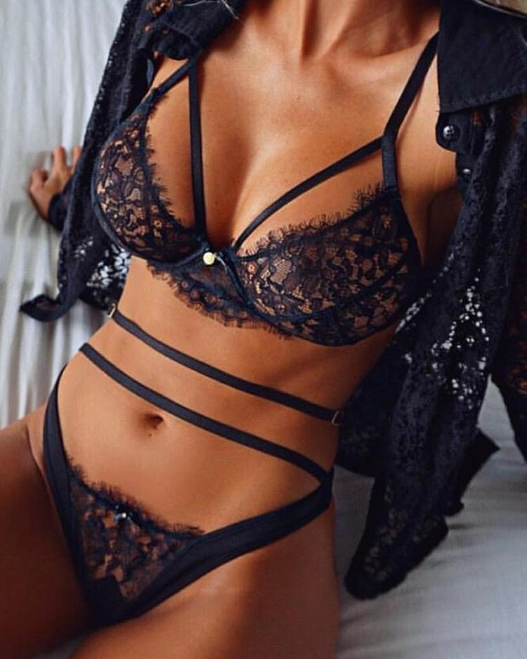 Sexy Black Strappy Lace Lingerie Bra Set Valentine's Day Gift фото