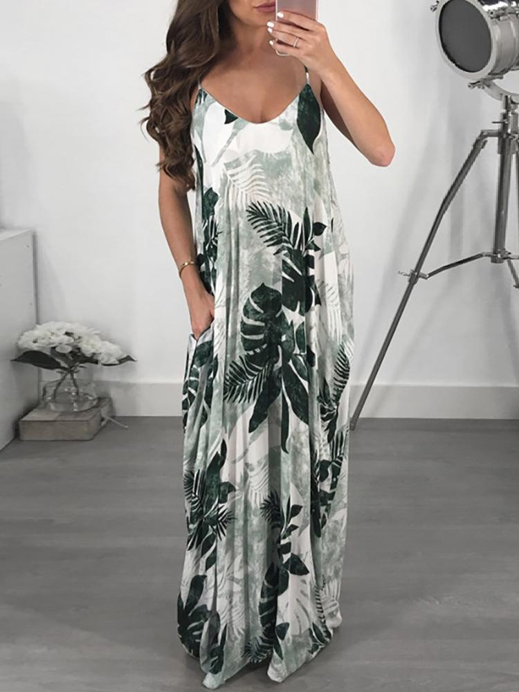 boutiquefeel / Printed Double V Neck Casual Maxi Dress