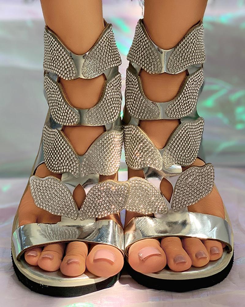 chicme / Sandalias planas con estampado de diamantes de imitación de mariposa