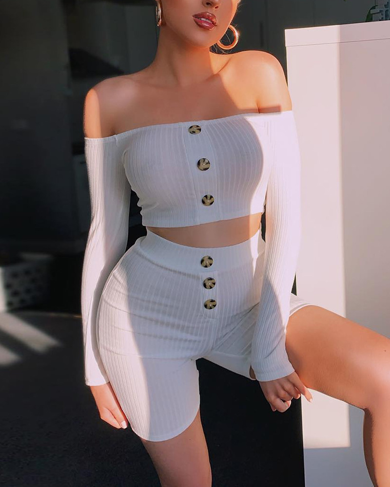 joyshoetique / Off Shoulder Buttoned Crop Top & Short Sets