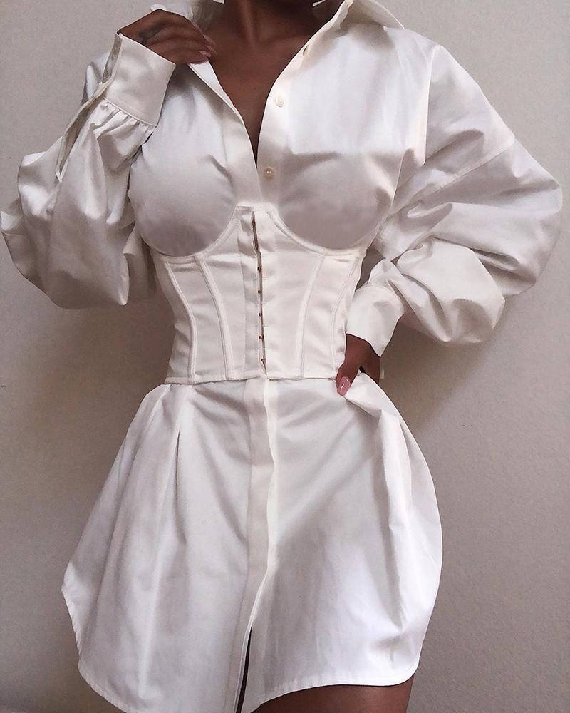 Solid Long Sleeve Tight Waist Buttoned Shirt Dress фото