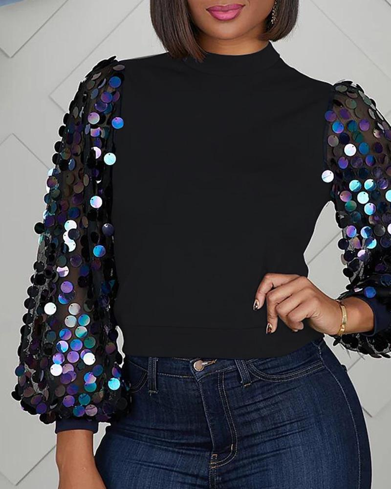 Solid Patchwork Sequins Sleeve Blouse фото