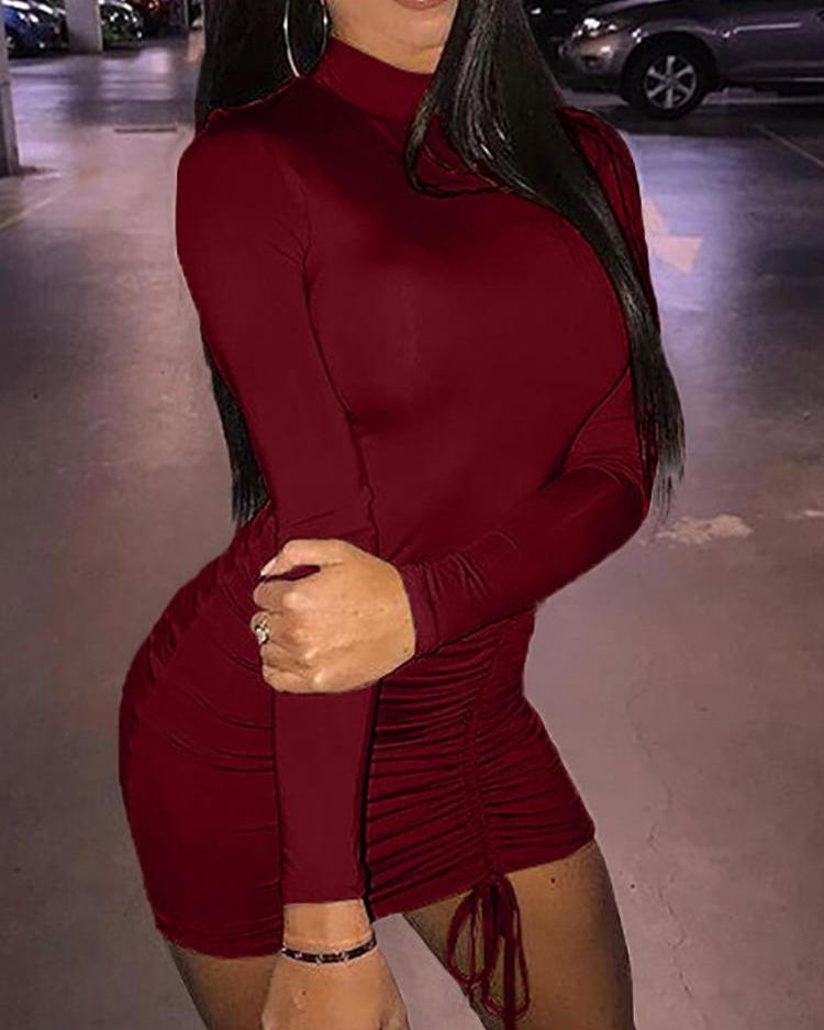 Long Sleeve Ruched Drawstring Design Mini Dress