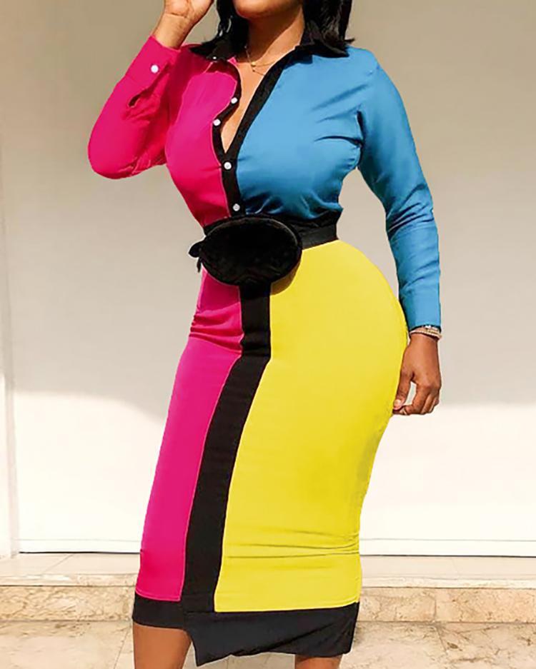 Colorblock Cut And Sew Shirt Dress