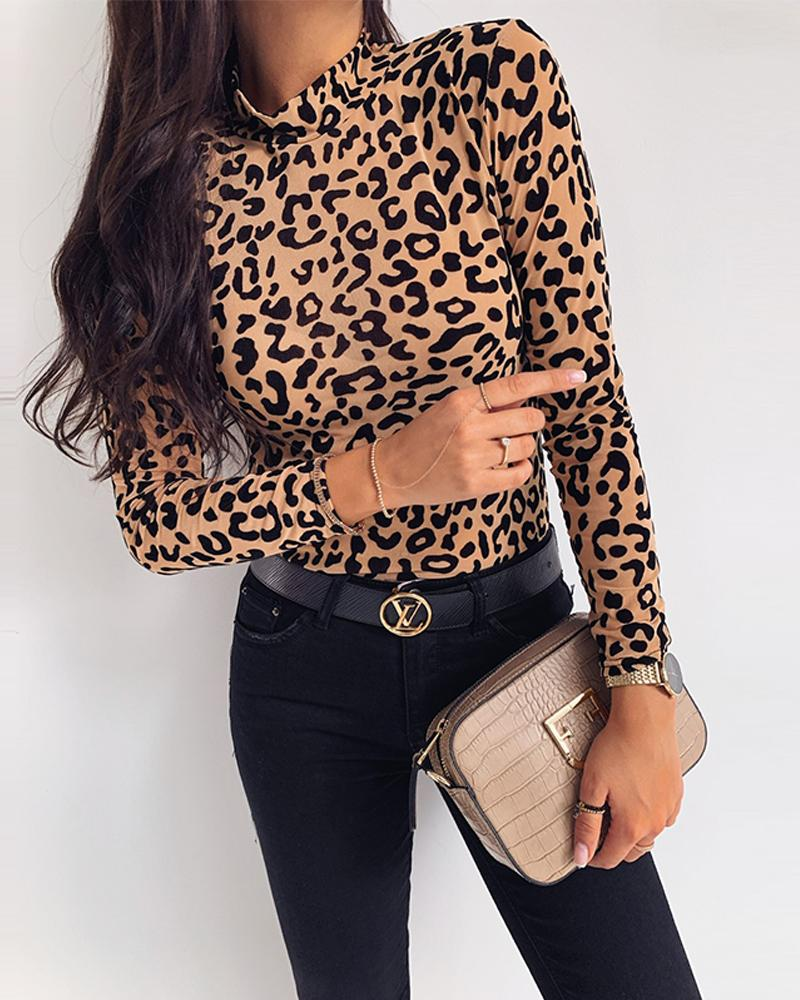 boutiquefeel / Top de manga larga con estampado de leopardo
