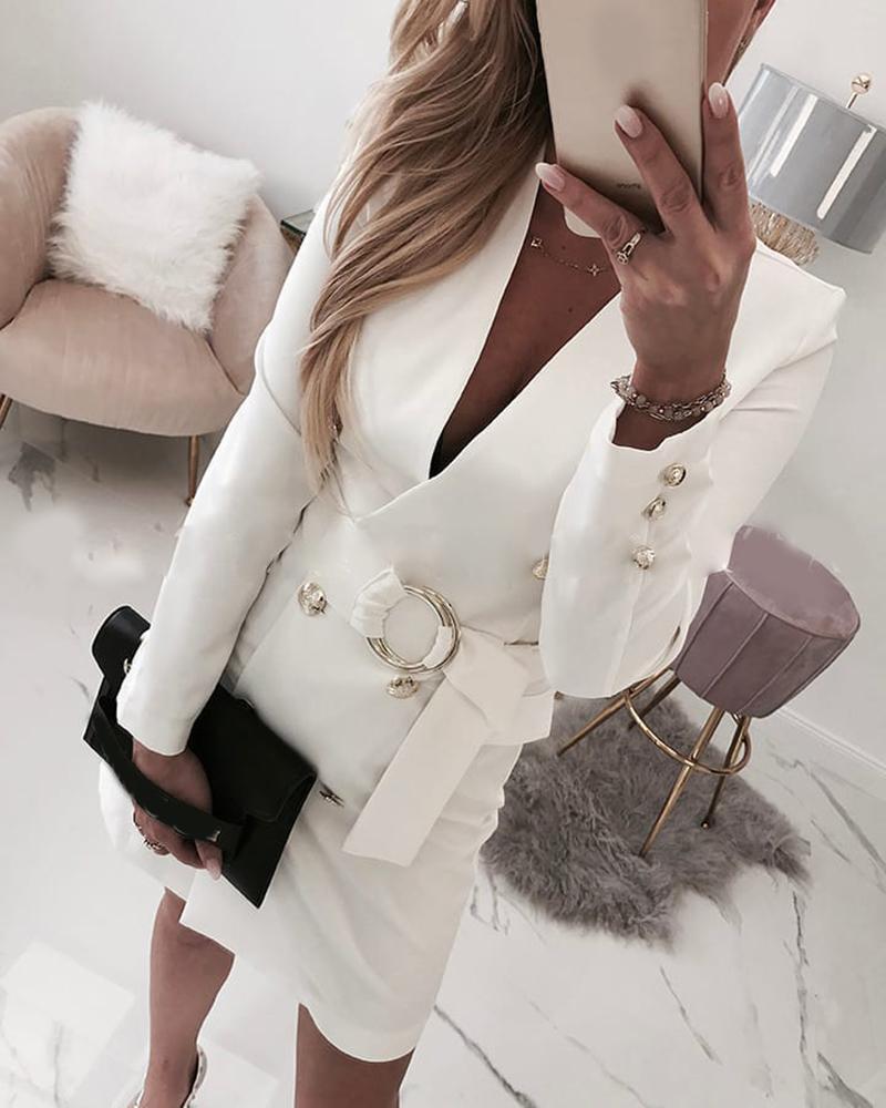 chicme / Plain Long Sleeve Buttoned Blazer Dress