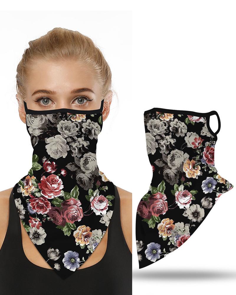 ivrose / Impresión floral transpirable oreja bucle cubierta de la cara a prueba de viento motociclismo polvo al aire libre pañuelo