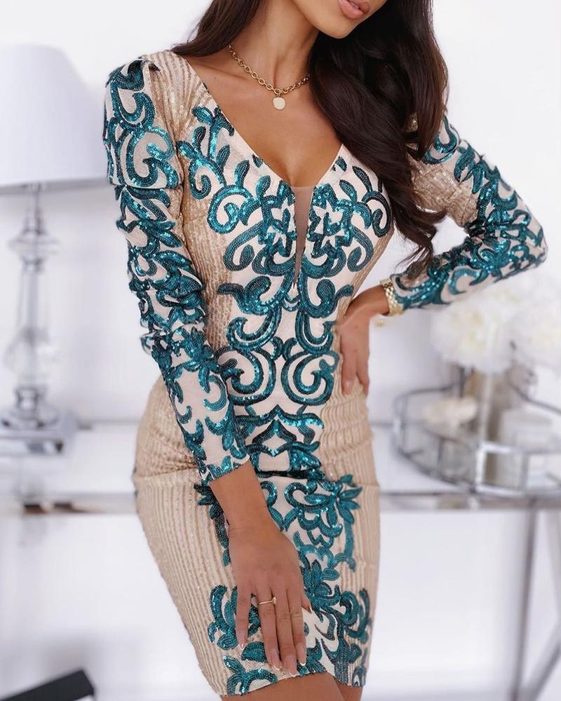 ivrose / Vestido de lentejuelas patchwork v-cut
