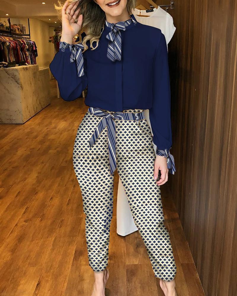 ivrose / Conjunto de manga comprida sólida e blusa colorida