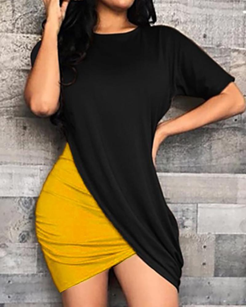 Colorblock Surplice Wrap Bodycon Dress