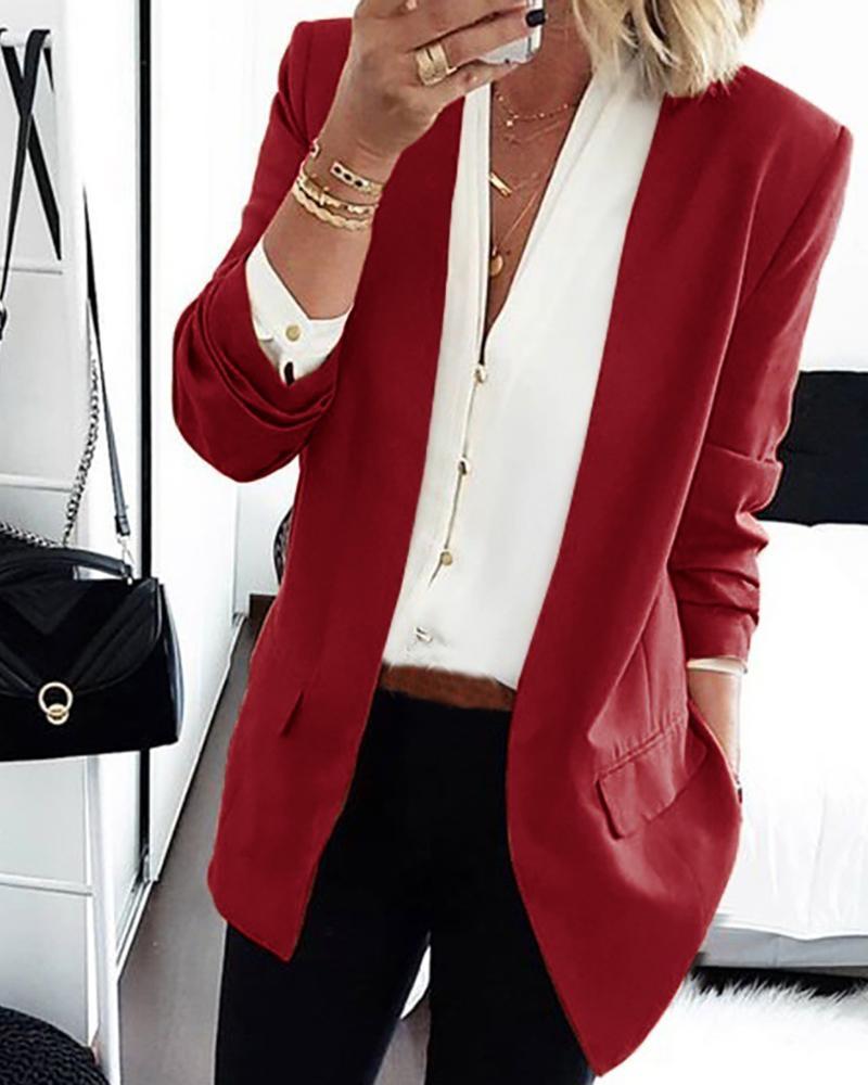 boutiquefeel / Abrigo blazer liso de manga larga con diseño de bolsillo