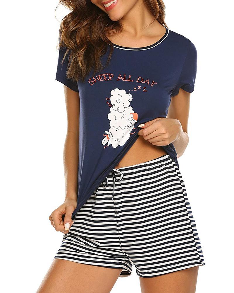 Striped Short Sleeve Print Pajamas Set фото