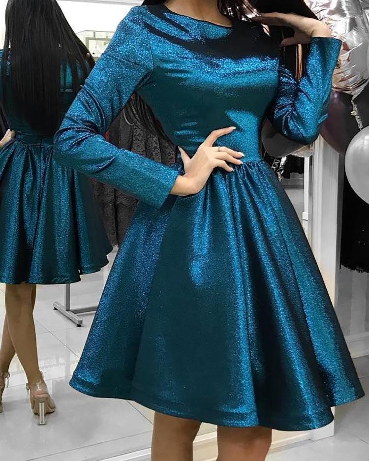 Long Sleeve Glitter Ruched Dress фото