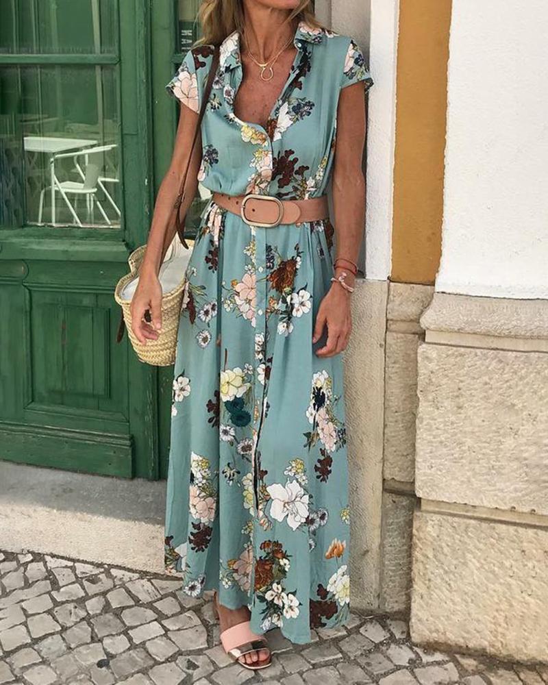 chicme / Vestido largo de manga corta con estampado floral
