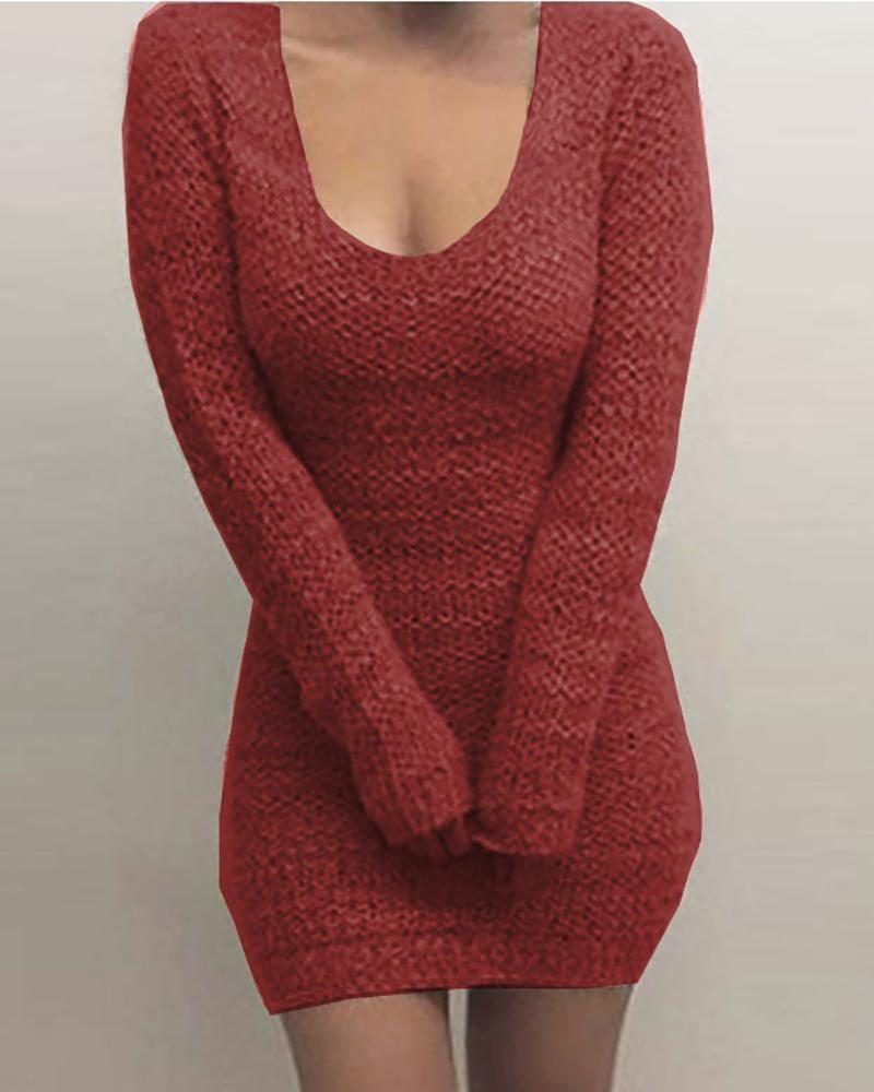 Solid Long Sleeve Knit Bodycon Dress фото