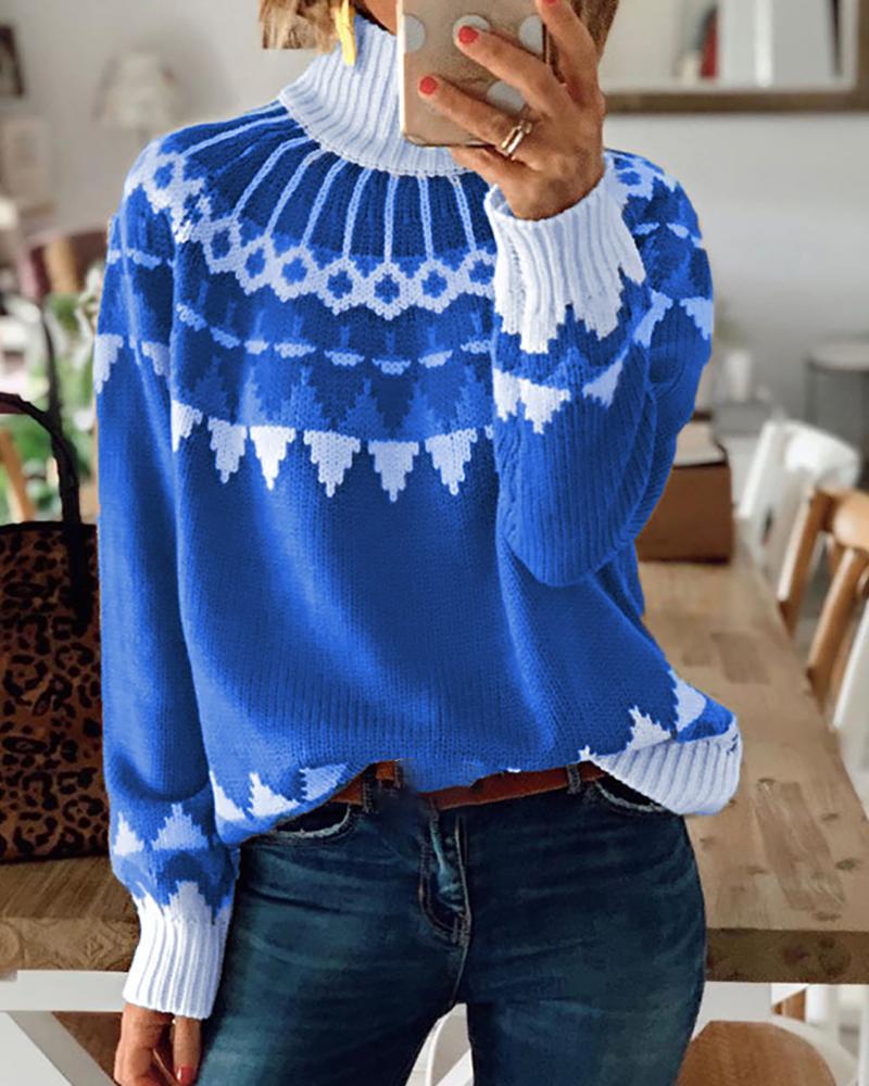ivrose / Christmas Pattern Long Sleeve Knit Sweater